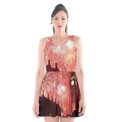 London Celebration New Years Eve Big Ben Clock Fireworks Scoop Neck Skater Dress by Sapixe