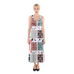 Mint Black Coral Heart Paisley Sleeveless Maxi Dress by Sapixe