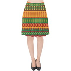 Mexican Pattern Velvet High Waist Skirt