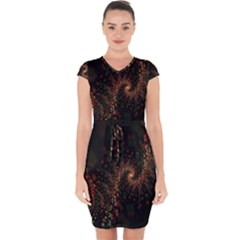 Multicolor Fractals Digital Art Design Capsleeve Drawstring Dress