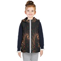 Multicolor Fractals Digital Art Design Kid s Hooded Puffer Vest