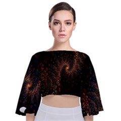 Multicolor Fractals Digital Art Design Tie Back Butterfly Sleeve Chiffon Top by Sapixe