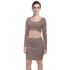 Mosaic Pattern Background Long Sleeve Crop Top & Bodycon Skirt Set