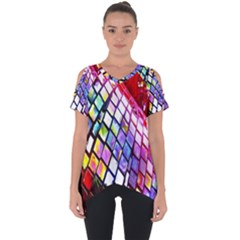 Multicolor Wall Mosaic Cut Out Side Drop Tee