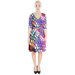 Multicolor Wall Mosaic Wrap Up Cocktail Dress