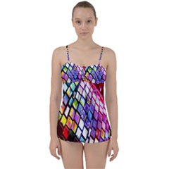 Multicolor Wall Mosaic Babydoll Tankini Set by Sapixe