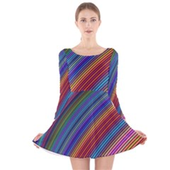 Multicolored Stripe Curve Striped Long Sleeve Velvet Skater Dress by Sapixe
