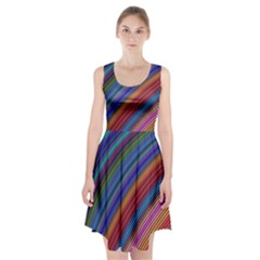 Multicolored Stripe Curve Striped Racerback Midi Dress by Sapixe