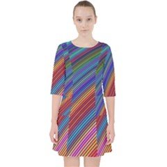 Multicolored Stripe Curve Striped Pocket Dress by Sapixe