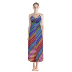 Multicolored Stripe Curve Striped Button Up Chiffon Maxi Dress