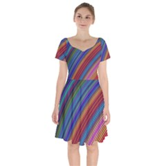 Multicolored Stripe Curve Striped Short Sleeve Bardot Dress