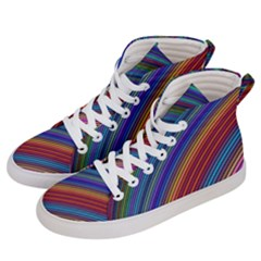 Multicolored Stripe Curve Striped Men s Hi Top Skate Sneakers by Sapixe