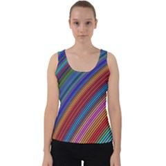 Multicolored Stripe Curve Striped Velvet Tank Top