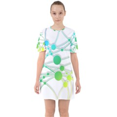 Network Connection Structure Knot Sixties Short Sleeve Mini Dress by Sapixe