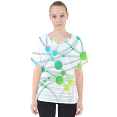 Network Connection Structure Knot V Neck Dolman Drape Top