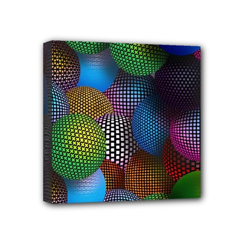 Multicolored Patterned Spheres 3d Mini Canvas 4  X 4  by Sapixe