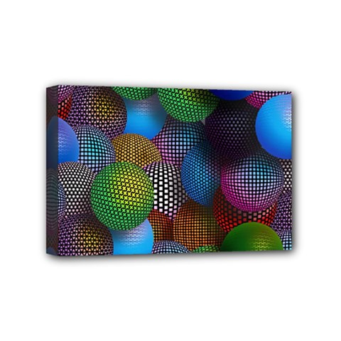 Multicolored Patterned Spheres 3d Mini Canvas 6  X 4  by Sapixe