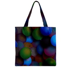 Multicolored Patterned Spheres 3d Zipper Grocery Tote Bag by Sapixe