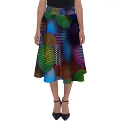 Multicolored Patterned Spheres 3d Perfect Length Midi Skirt