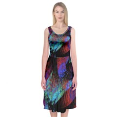 Native Blanket Abstract Digital Art Midi Sleeveless Dress by Sapixe