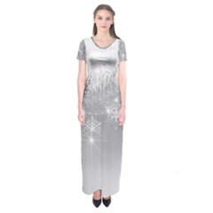 New Year Holiday Snowflakes Tree Branches Short Sleeve Maxi Dress