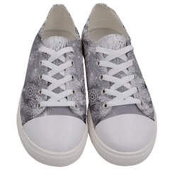New Year Holiday Snowflakes Tree Branches Women s Low Top Canvas Sneakers
