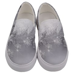 New Year Holiday Snowflakes Tree Branches Men s Canvas Slip Ons