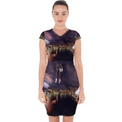 New Year's Evein Sydney Australia Opera House Celebration Fireworks Capsleeve Drawstring Dress