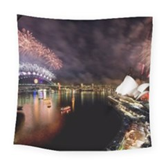 New Year's Evein Sydney Australia Opera House Celebration Fireworks Square Tapestry (large) by Sapixe