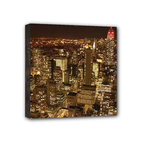 New York City At Night Future City Night Mini Canvas 4  X 4  by Sapixe