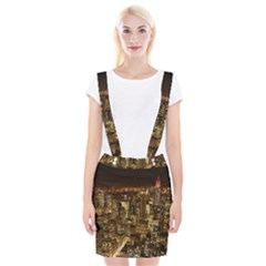 New York City At Night Future City Night Braces Suspender Skirt by Sapixe