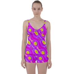 Noise Texture Graphics Generated Tie Front Two Piece Tankini