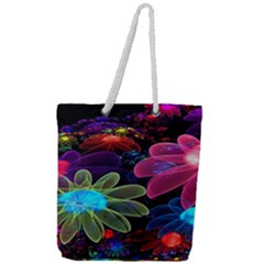 Nice 3d Flower Full Print Rope Handle Tote (large) by Sapixe