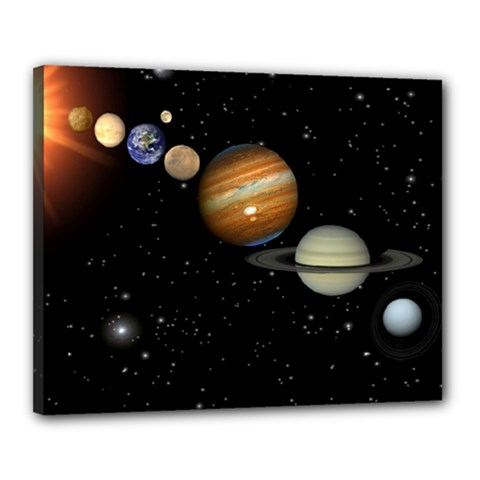 Outer Space Planets Solar System Canvas 20  X 16  by Sapixe