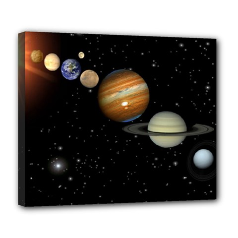 Outer Space Planets Solar System Deluxe Canvas 24  X 20   by Sapixe