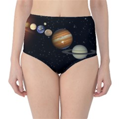 Outer Space Planets Solar System High Waist Bikini Bottoms by Sapixe