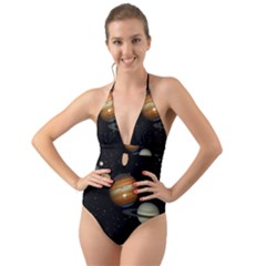 Outer Space Planets Solar System Halter Cut Out One Piece Swimsuit by Sapixe