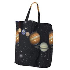 Outer Space Planets Solar System Giant Grocery Zipper Tote by Sapixe