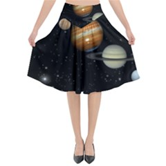 Outer Space Planets Solar System Flared Midi Skirt by Sapixe