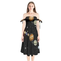 Outer Space Planets Solar System Shoulder Tie Bardot Midi Dress by Sapixe
