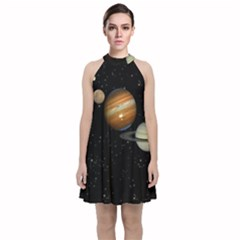 Outer Space Planets Solar System Velvet Halter Neckline Dress  by Sapixe