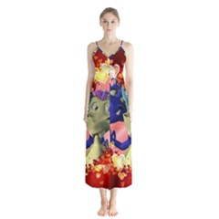 Ove Hearts Cute Valentine Dragon Button Up Chiffon Maxi Dress
