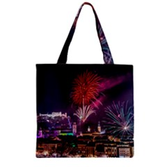New Year New Year's Eve In Salzburg Austria Holiday Celebration Fireworks Zipper Grocery Tote Bag by Sapixe