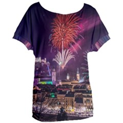 New Year New Year's Eve In Salzburg Austria Holiday Celebration Fireworks Women s Oversized Tee by Sapixe