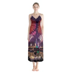 New Year New Year's Eve In Salzburg Austria Holiday Celebration Fireworks Button Up Chiffon Maxi Dress