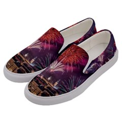 New Year New Year's Eve In Salzburg Austria Holiday Celebration Fireworks Men s Canvas Slip Ons by Sapixe