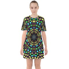 Liven Up In Love Light And Sun Sixties Short Sleeve Mini Dress by pepitasart