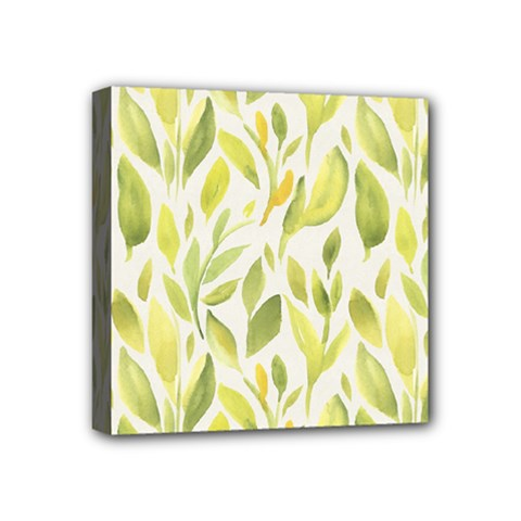 Green Leaves Nature Patter Mini Canvas 4  X 4  by paulaoliveiradesign