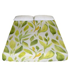 Green Leaves Nature Patter Fitted Sheet (california King Size)