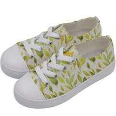 Green Leaves Nature Patter Kids  Low Top Canvas Sneakers by paulaoliveiradesign